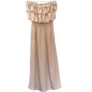 [REBECCA TAYLOR]100% Silk Ruffle Maxi Dress Size 4